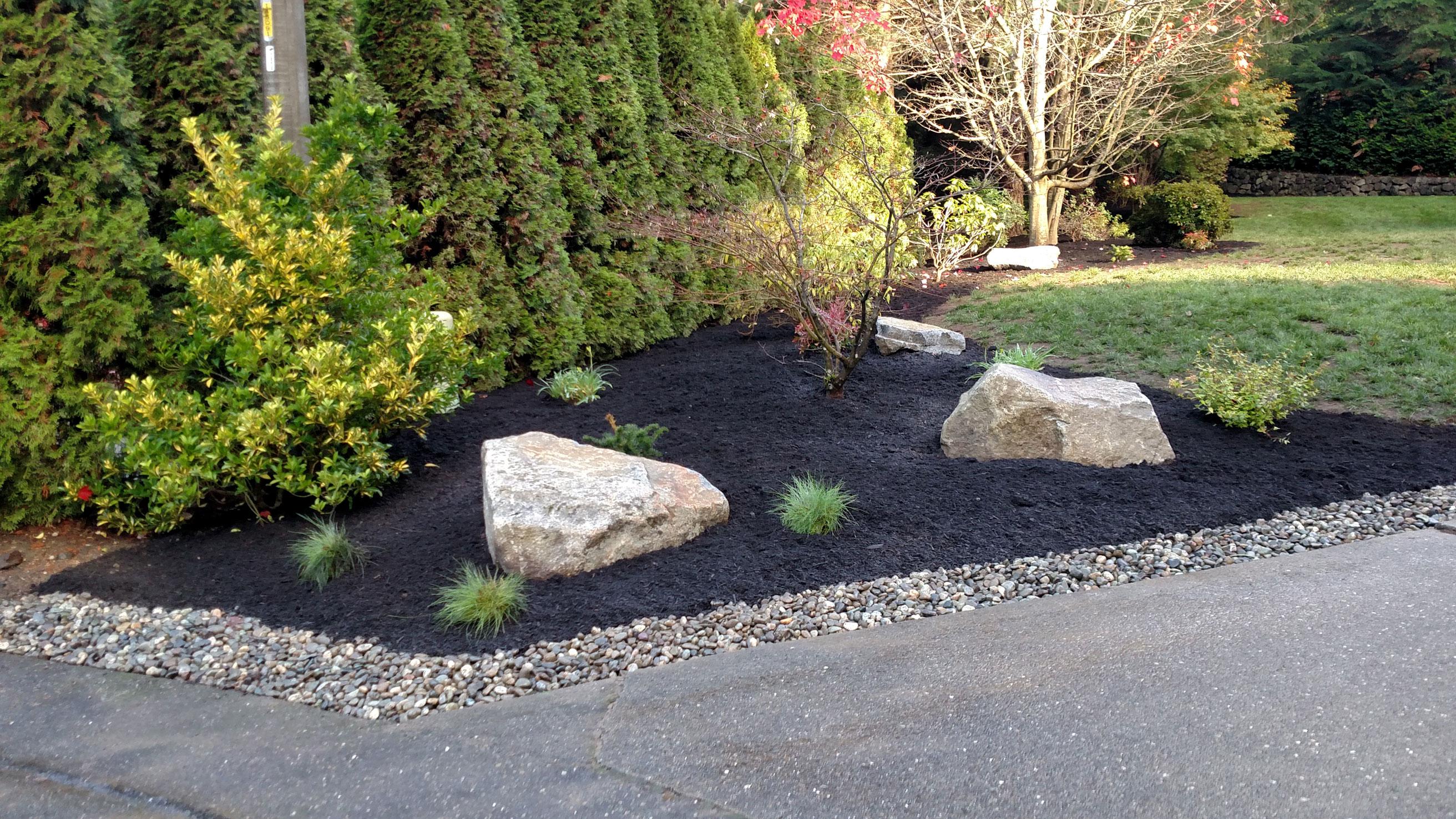 Bed renovation bremerton brookside landscape design for Landscaping rocks kitsap county